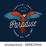 red ara parrot vintage paradise ... | Shutterstock .eps vector #589815944