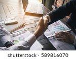 business team meeting handshake ... | Shutterstock . vector #589816070