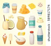 fresh organic milk products set ... | Shutterstock .eps vector #589817174