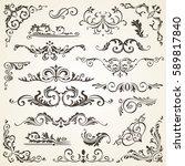 vector set of swirl elements... | Shutterstock .eps vector #589817840