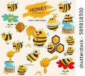 cute bee cartoon character... | Shutterstock .eps vector #589818500