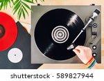 turntable vinyl record player ...   Shutterstock . vector #589827944