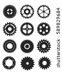 various black gear set in flat...   Shutterstock .eps vector #589829684