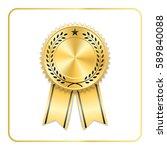 award ribbon gold icon. blank... | Shutterstock .eps vector #589840088