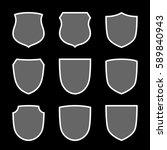 shield shape icons set. gray... | Shutterstock .eps vector #589840943