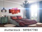 bedroom interior. 3d... | Shutterstock . vector #589847780