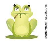 Vector Cartoon Green Frog
