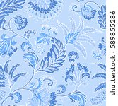 seamless pattern with fantasy... | Shutterstock .eps vector #589855286