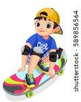 cool boy on skateboard making... | Shutterstock .eps vector #589856564