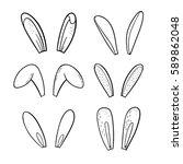 doodle easter bunny ears set.... | Shutterstock .eps vector #589862048