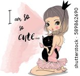 cute little princess with black ... | Shutterstock .eps vector #589862690
