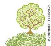 beautiful tree. vector... | Shutterstock .eps vector #589864604