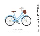 Blue Retro Bicycle With Floral...