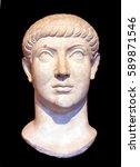 head of roman emperor...   Shutterstock . vector #589871546