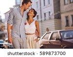 urban happy couple in love... | Shutterstock . vector #589873700