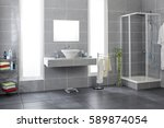 bathroom with gray tiles | Shutterstock . vector #589874054