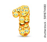 a set of emoticons shaped as... | Shutterstock .eps vector #589874480
