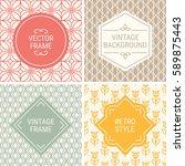 set of vintage frames in red ... | Shutterstock .eps vector #589875443