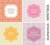 set of vintage frames in orange ... | Shutterstock .eps vector #589875836