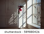 white delicate decorative wood... | Shutterstock . vector #589880426