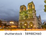 notre dame cathedral in paris | Shutterstock . vector #589882460
