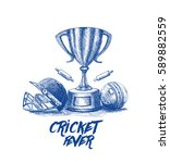 cricket championship with ball... | Shutterstock .eps vector #589882559