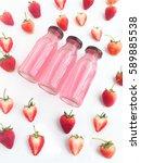 strawberry drink  | Shutterstock . vector #589885538