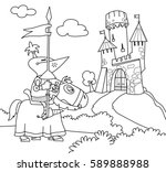a wandering knight on a horse... | Shutterstock .eps vector #589888988