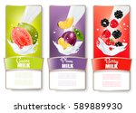 set of three labels of fruit in ... | Shutterstock .eps vector #589889930