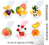 big collection icons of fruit... | Shutterstock .eps vector #589890506