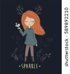 cute girl vector design. forest ... | Shutterstock .eps vector #589892210