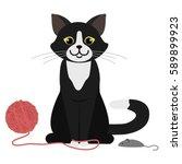 black cat playing. cartoon... | Shutterstock .eps vector #589899923