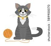 Stock vector grey cat playing on floor cartoon character domestic animal flat vector stock illustration 589900070