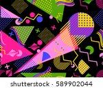 memphis seamless pattern.... | Shutterstock .eps vector #589902044