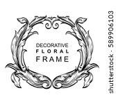 decorative floral frame... | Shutterstock .eps vector #589906103