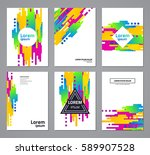 set of abstract geometric... | Shutterstock .eps vector #589907528