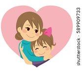 cute little girl daughter... | Shutterstock .eps vector #589909733