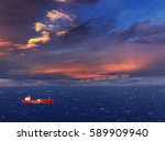red ship in the sea at sunset | Shutterstock . vector #589909940