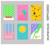set of creative universal cards....   Shutterstock .eps vector #589910003