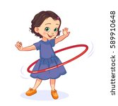 Cartoon Little Girl Spins The...