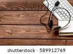 call center manager desktop top ... | Shutterstock . vector #589912769