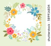 floral wreath on white... | Shutterstock .eps vector #589916834