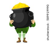 leprechaun holding pot of gold. ... | Shutterstock .eps vector #589919990