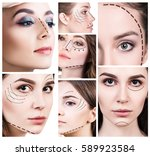 collage of plastic surgery... | Shutterstock . vector #589923584