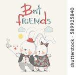 couple of bunnies making selfie.... | Shutterstock .eps vector #589925840
