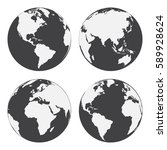 set of globe earth icons. flat... | Shutterstock .eps vector #589928624