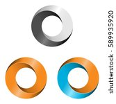 set of three abstract circle... | Shutterstock .eps vector #589935920
