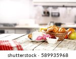 spring breakfast in the morning ... | Shutterstock . vector #589935968