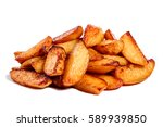 fried potatoes isolated on... | Shutterstock . vector #589939850