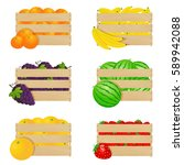 wooden boxes with fresh fruits | Shutterstock . vector #589942088
